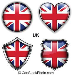 UK icons - United Kingdom; UK flag icons, vector buttons.
