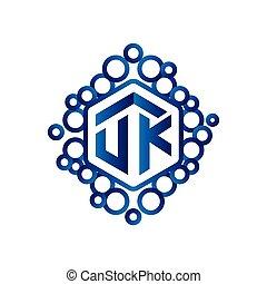 UK Initial letter hexagonal logo vector