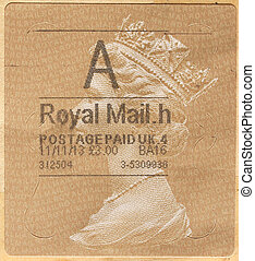 Uk mail stamp with Queen Elizabeth II
