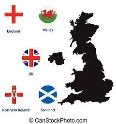 UK map and flags