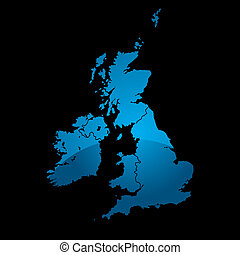 uk map blue divide - Blue map of the uk divided in two with...