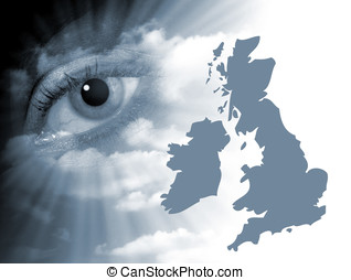 UK map eye abstract - Surreal eye abstract with outline map...