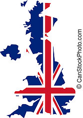 Uk map & flag - UK flag in the shape the country - isolated...