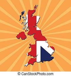 UK map flag on sunburst