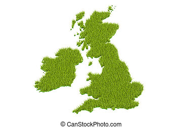 UK map from green grass, 3D rendering