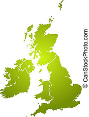 uk map green - Illustration of the british isles in...