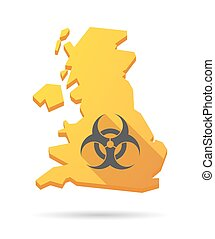 UK map icon with a biohazard sign