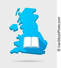 UK map icon with a book