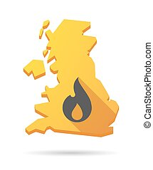 UK map icon with a flame