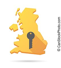 UK map icon with a key