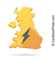 UK map icon with a lightning