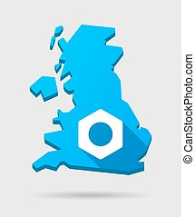 UK map icon with a nut
