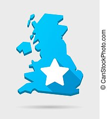 UK map icon with a star