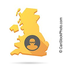 UK map icon with a thief