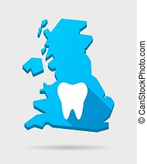 UK map icon with a thooth