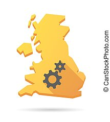 UK map icon with gears