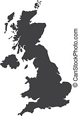 UK map in black on a white background. Vector illustration
