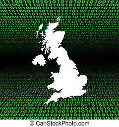UK map over binary code