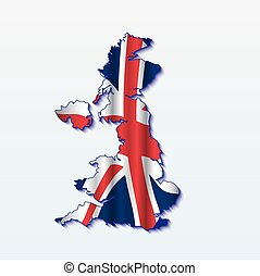 UK map with shiny flag