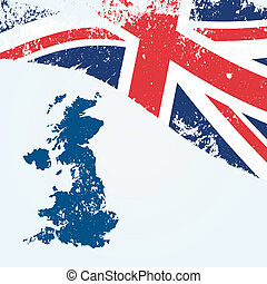 UK or British map with flag in grunge background