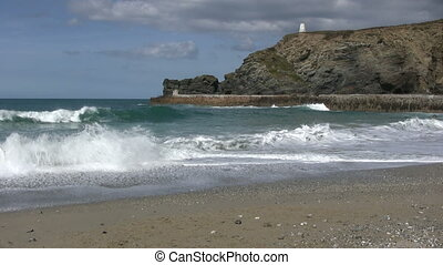 uk., portreath, rupture, cornouailles, vagues