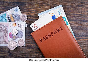 UK pound, euro money and passport. Travel to Great Britain...