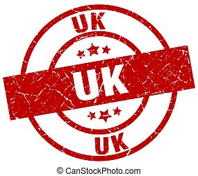 uk red round grunge stamp