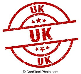 uk red round grunge stamp
