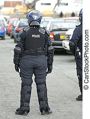 uk, rendőrség, bekapcsol, lázadás, tiszt