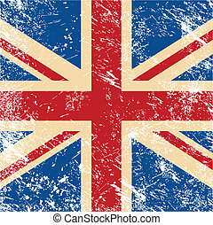 UK retro flag - United Kingdom vintage flag - grunge style