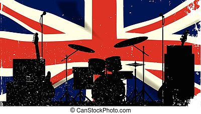 UK Rock Band - Grunge Union Jack flag as a bakground to a...