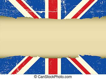 UK scratched flag - Horizontal frame on a UK grunge Flag for...
