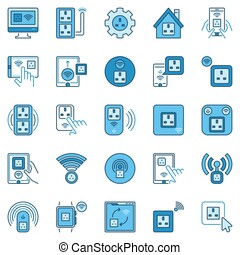 UK Smart Socket colored icons set - vector Smart Plug signs
