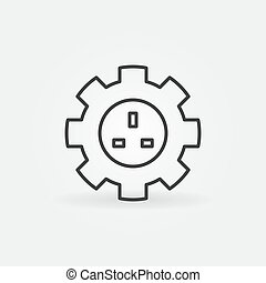 UK Smart Socket in Gear vector outline icon or sign