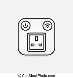 UK Smart Socket vector outline concept icon or logo