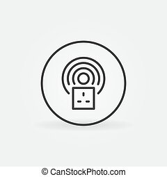UK Smart Socket vector round concept icon in outline style