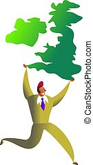 uk success - happy ethnic man carrying map of the united...