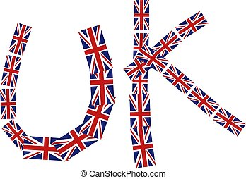 Uk Title - Graphic illustration of the word UK made up of...
