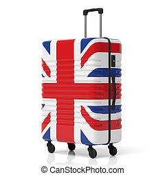 United kingdom flag suitcase isolated on white background. 3d illustration