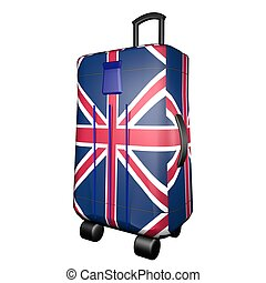 UK Trolley suitcase - UK flag over trolley suitcase,...