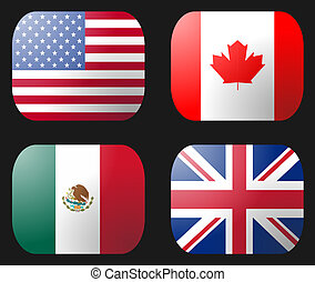 UK USA Mexico Canada Flag buttons illustration