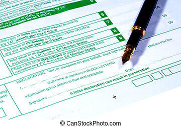 UK VAT Form with black fountain pen