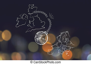 UK voted to leave EU, broken ball & chain (leavers' point of view)