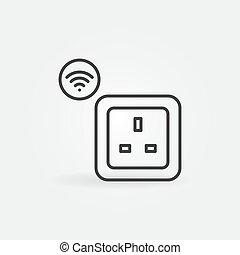 UK Wi-Fi smart socket vector outline icon or logo