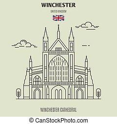 uk., winchester, ランドマーク, アイコン, 大聖堂