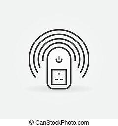 UK Wireless smart socket vector outline concept icon