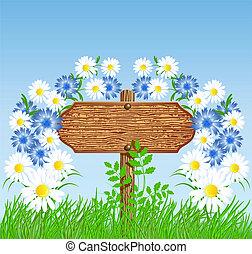 ukazatel směru, dále, ta, louka, s, květiny