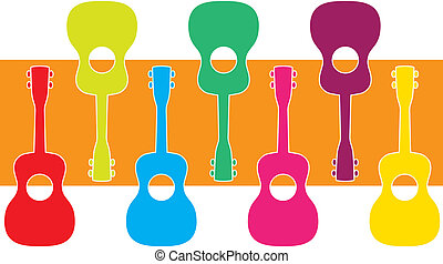 Uke Graphic - A display of ukuleles in vibrant colors,...