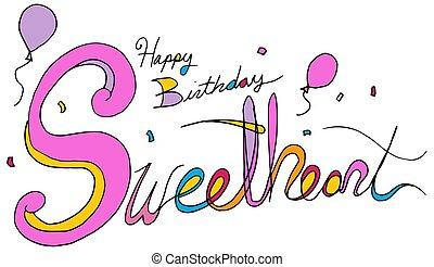 ukochana, tekst, balloon, urodziny, confetti, wiadomość, szczęśliwy
