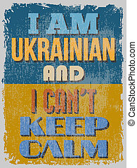 ukrán, illustrati, poster., tart, vektor, calm., can't
